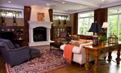 Great Room renovation; custom fireplace, bookcases