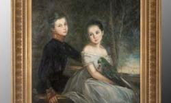 painting-gold-frame-boy-girl-vintage-look-jro-1593