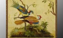 painting-yellow-background-two-peacocks-on-greenery-jro-2378_0