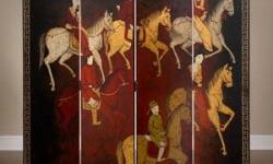 red-panel-room-divider-men-on-horses-jra-6999